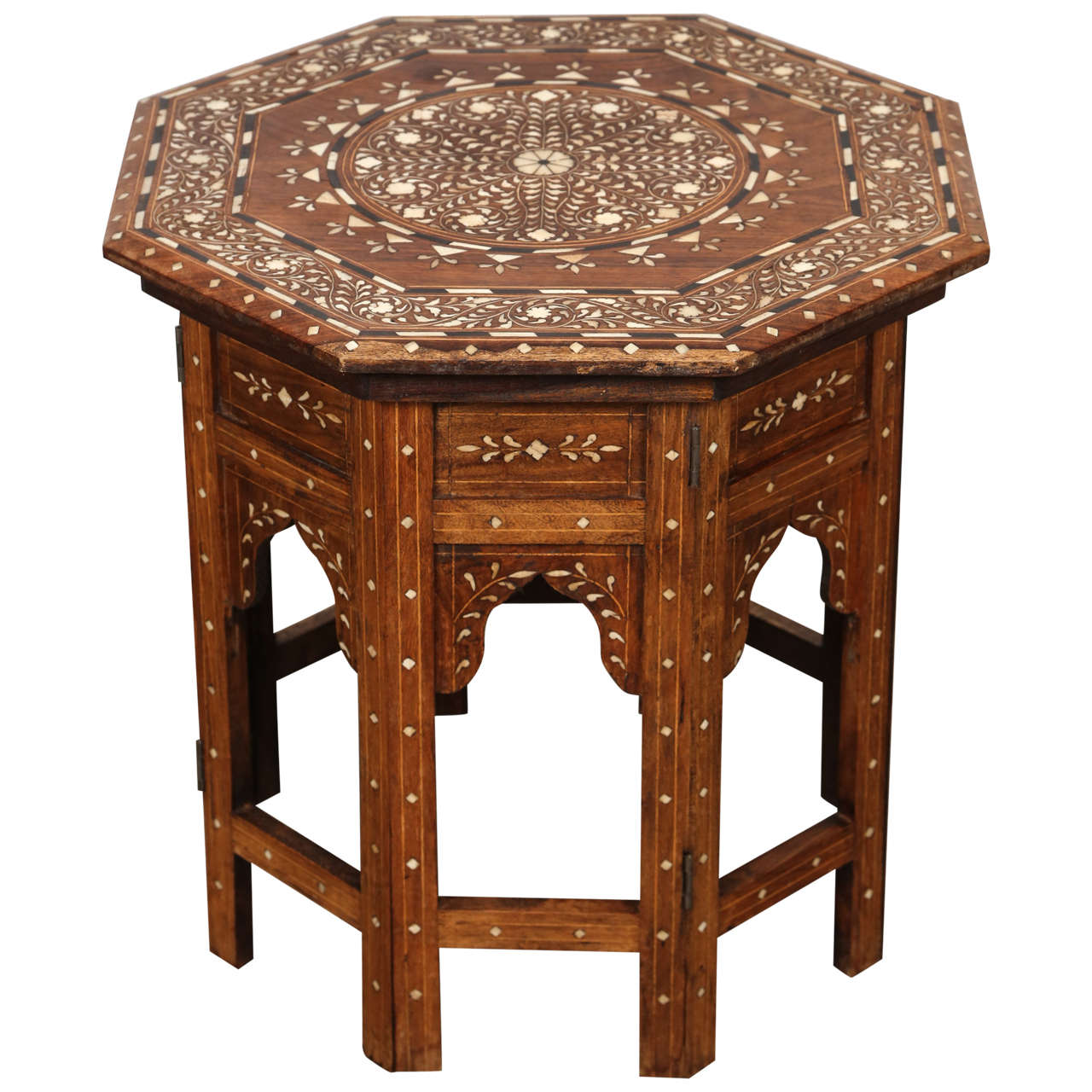 Anglo Indian Inlaid Octagonal Side Table 1
