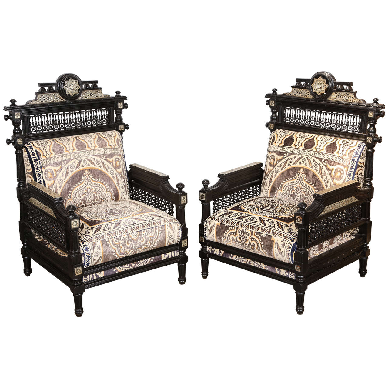 Antique Syrian Moorish Style Black Armchairs For Sale - Antique Syrian Moorish Style Black Armchairs For Sale At 1stdibs