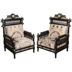 Antique Middle Eastern Syrian Moorish Black Armchairs
