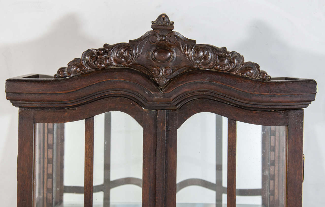 Victorian Antique Curio Cabinet with Hand Carved Wood Designs 3