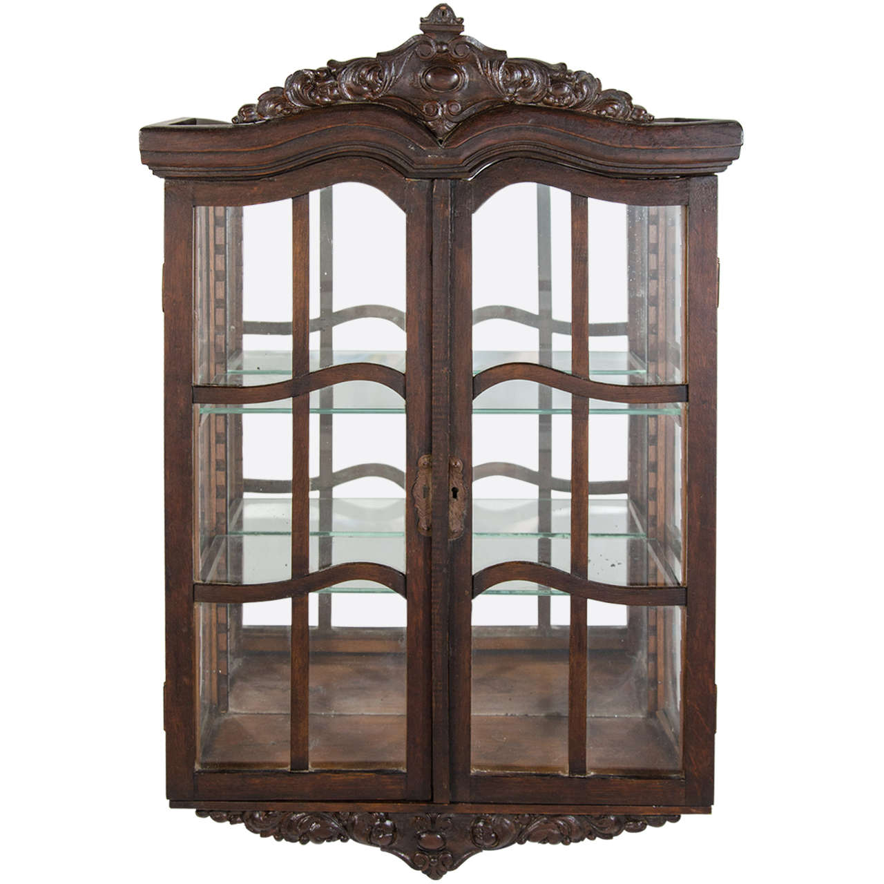 Victorian Antique Curio Cabinet with Hand Carved Wood Designs For Sale