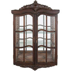 Antique Victorian Curio Wall Mount Cabinet with Carved Wood Designs