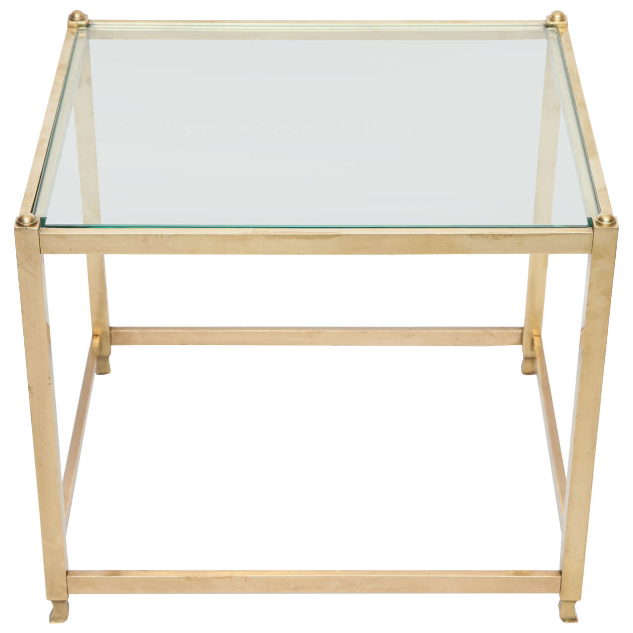 1940s Art Moderne Brass and Glass Table