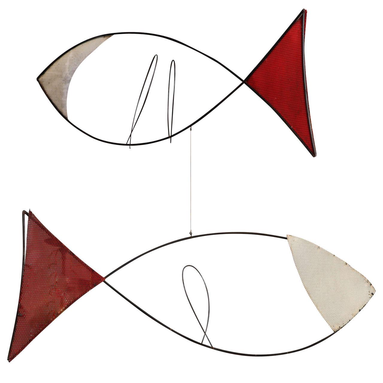 Sculptural Metal Fish Mobile, 1950s