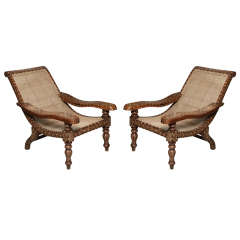 Rare Pair Of Antique Anglo-Indian Bone Inlaid Plantation Chairs