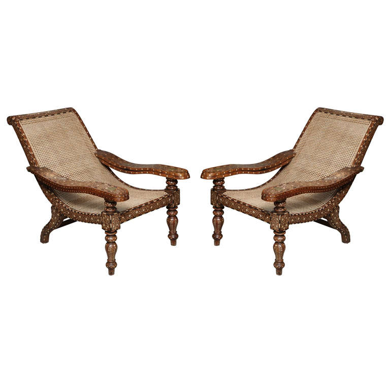 Rare Pair Of Antique Anglo-Indian Bone Inlaid Plantation Chairs 1 - Rare Pair Of Antique Anglo-Indian Bone Inlaid Plantation Chairs At