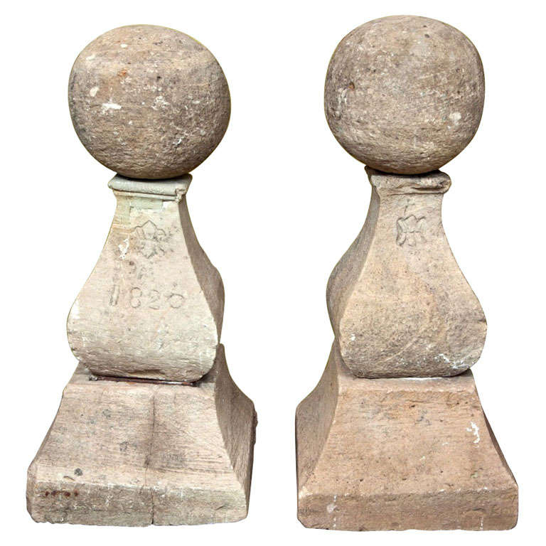 Unusual Pair Of Marked Cast Stone Finials At 1stdibs