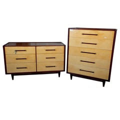 Pair Mid-Century Modern Mahogany And Parchment Compatible Chests Dressers