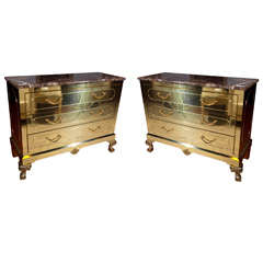 Pair of Brass Bachelor Chests - Commodes