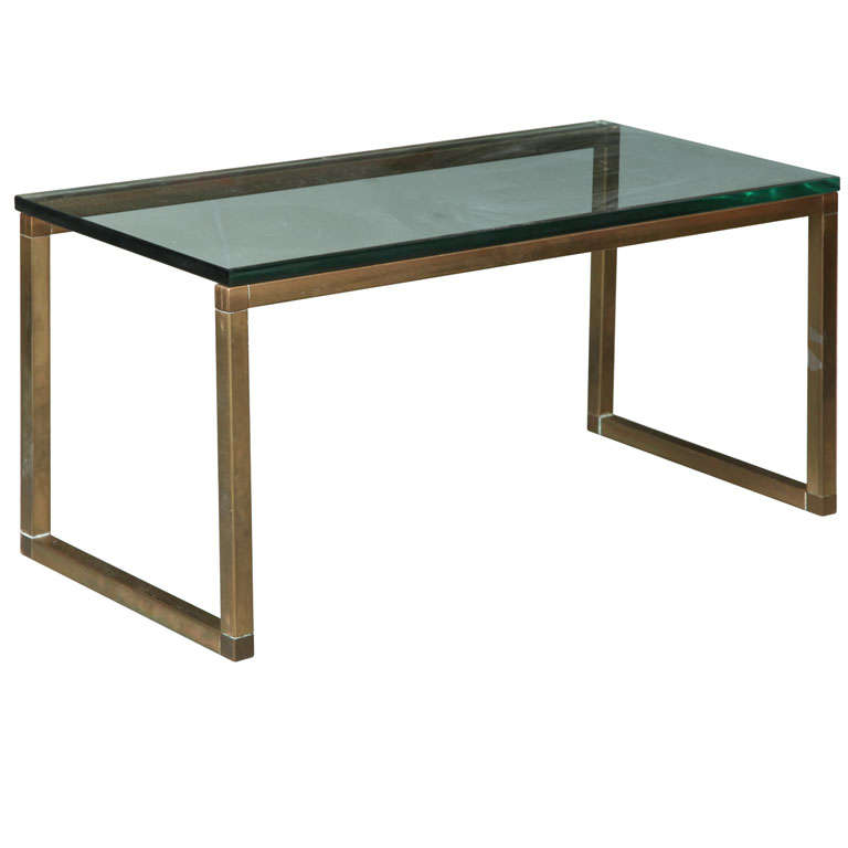 1970s French Reversible Bronze Metal And Glass Coffee Table At 1stdibs