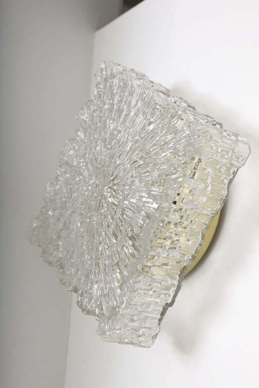 Italian Textured Glass Wall Sconces or Flush Mount Fixtures For Sale at 1stdibs