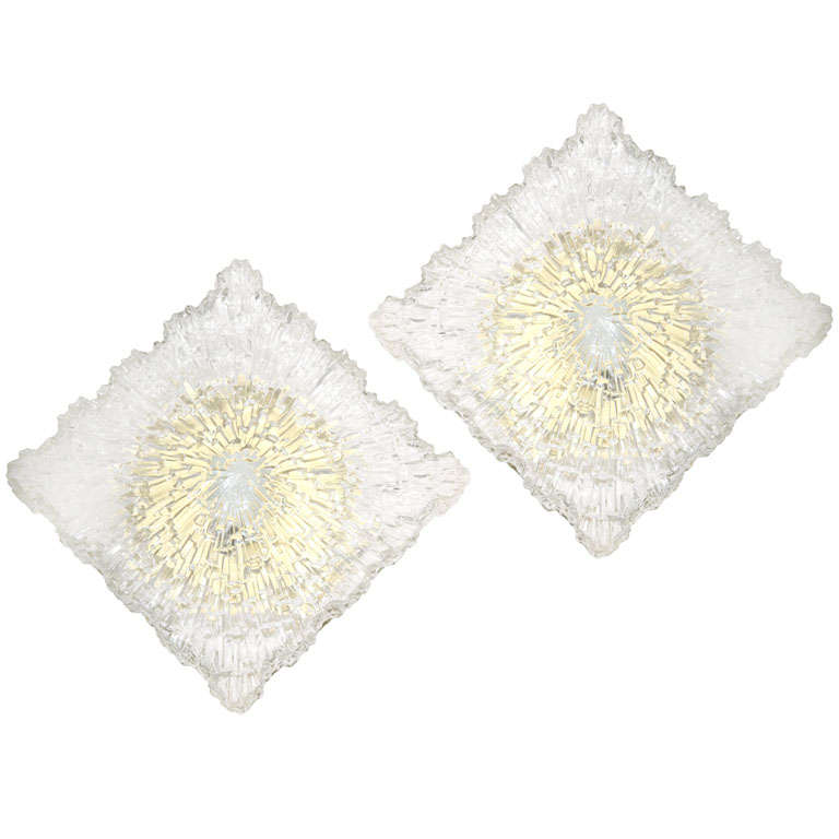 Italian Textured Glass Wall Sconces or Flush Mount Fixtures