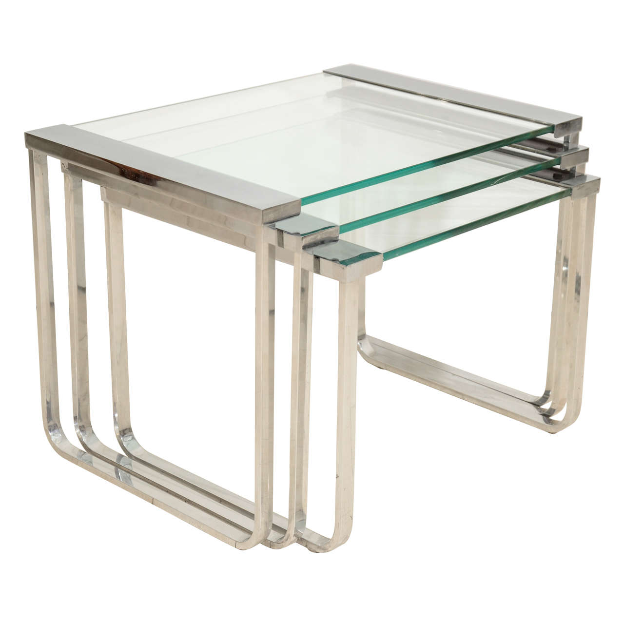 Chrome and glass nesting tables at stdibs