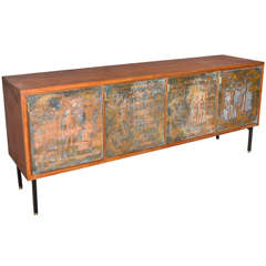 1950s Sideboard with Decorative Doors