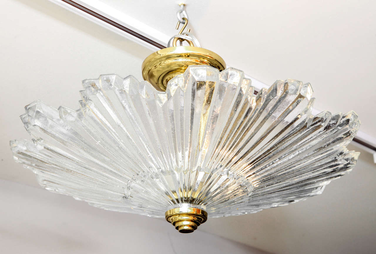 A Pair of American Flush Mounted Glass Sunburst Ceiling Lights at