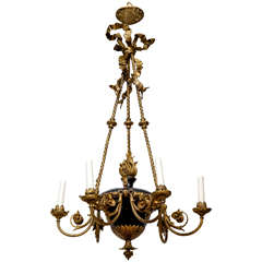 A Six Light French Empire Tole Chandelier