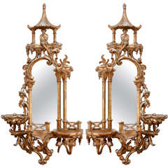 Pair of 19th c. Chinoiserie Mirrors
