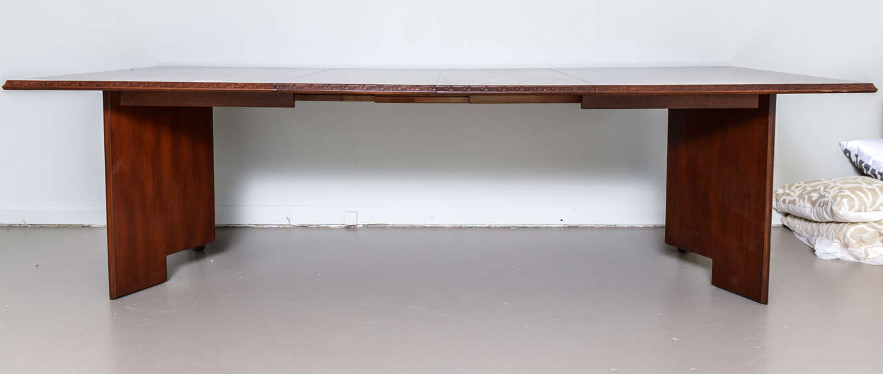 American Frank Lloyd Wright Mahogany Extension Dining Table For Sale