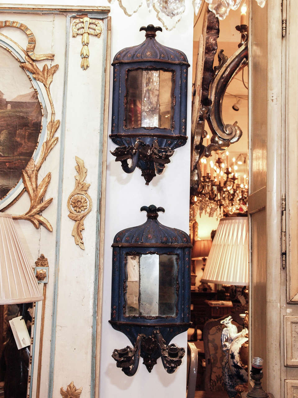 Pair of 18th c. Venetian Painted wood and mirrored wall sconces with two arms.