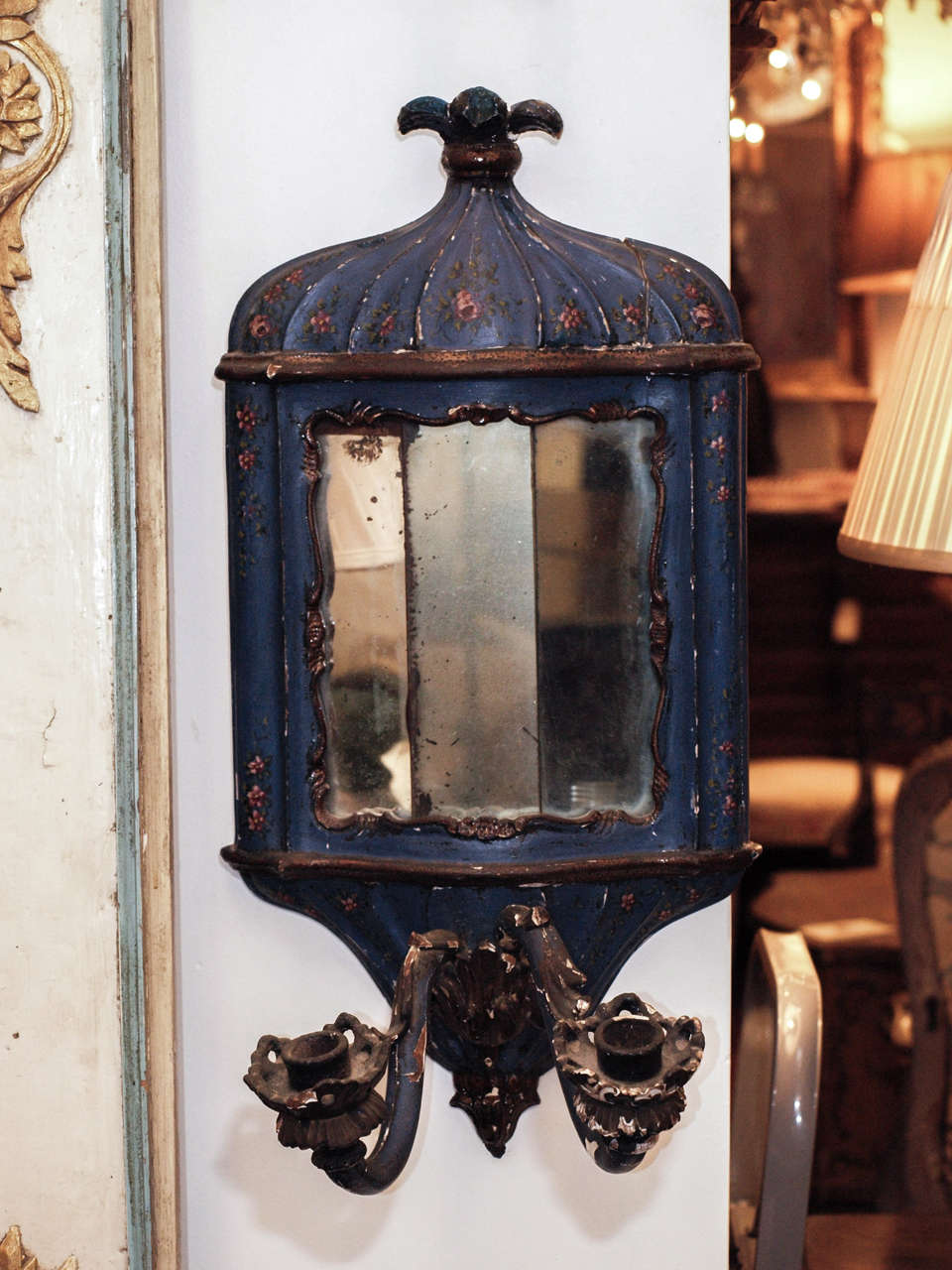 Rococo Pair of 18th c. Painted Wood Venetian and Mirror Wall Sconces For Sale
