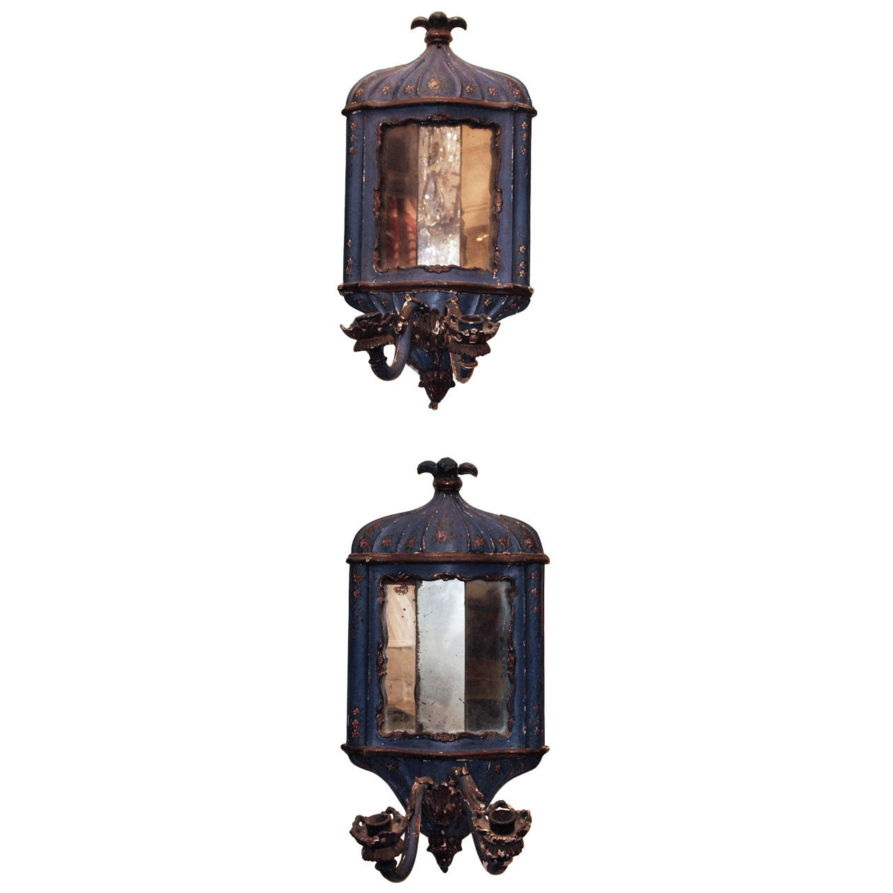 Pair of 18th c. Painted Wood Venetian and Mirror Wall Sconces For Sale