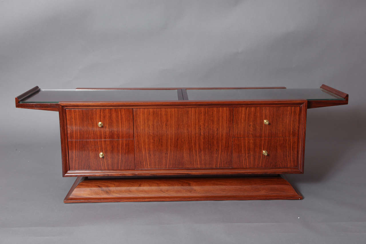 Rosewood Bar Cabinet Coffee Table, France, 1930s 2