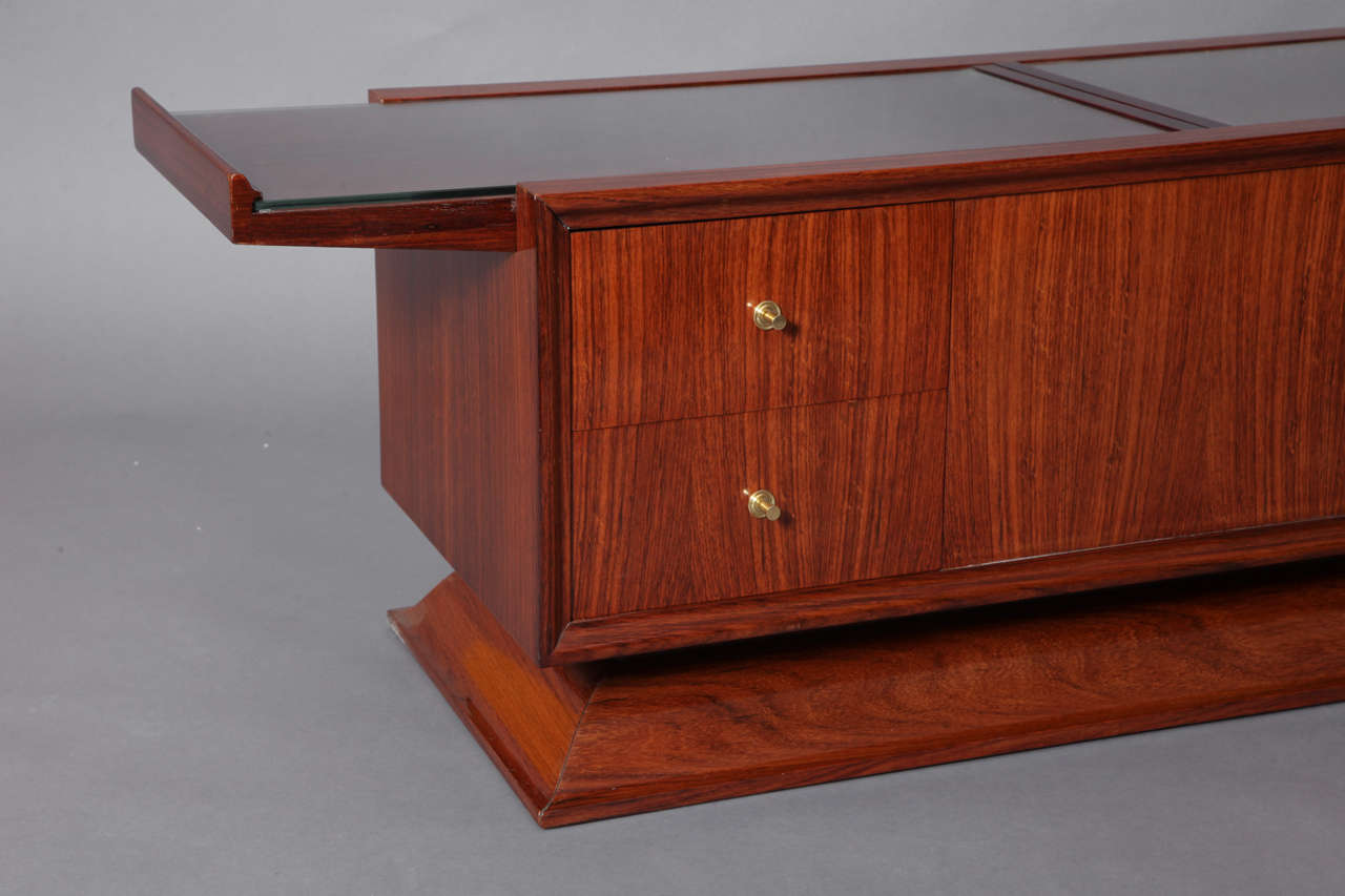 Rosewood Bar Cabinet Coffee Table, France, 1930s 5