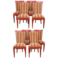 Set of Eight French Art Moderne Dining Chairs