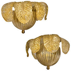 Two 1960s Italian Murano Glass Sconces by Barovier