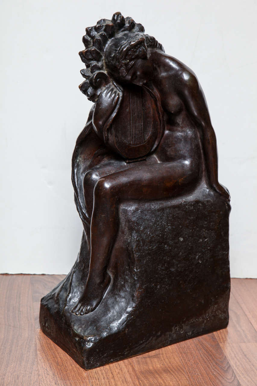 """Amedeo Gennarelli (1881-1943). """"Woman with Lyre"""" Black patinated bronze, cire perdue casting, numbered 7 in a limited edition of 10. Signed. Measures: H. 20 1/2"""", W. 11 1/4"""", D. 7""""."""