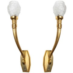 Maurice Dufrêne Elegant Pair of Art Deco Wall Sconces