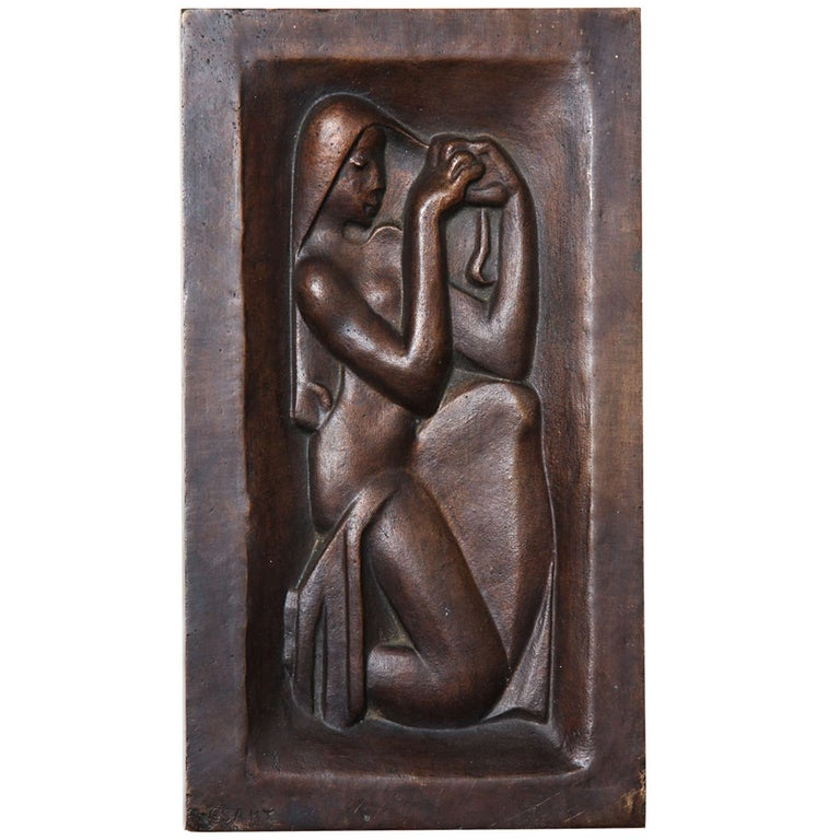 """Femme se peignant"" Bronze-Relief by Joseph Csaky For Sale"