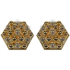 Pair of Hexagonal Sputnik Flush Mounts