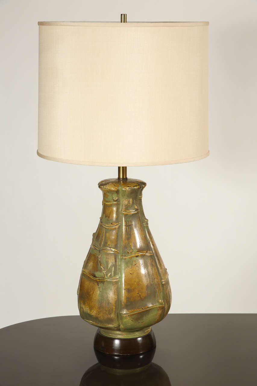 arts and crafts style ceramic lamp at 1stdibs. Black Bedroom Furniture Sets. Home Design Ideas