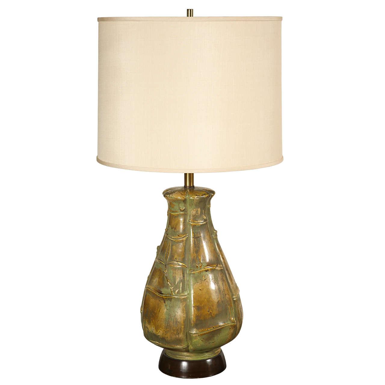 arts and crafts style ceramic lamp at 1stdibs. Black Bedroom Furniture Sets. Home Design Ideas