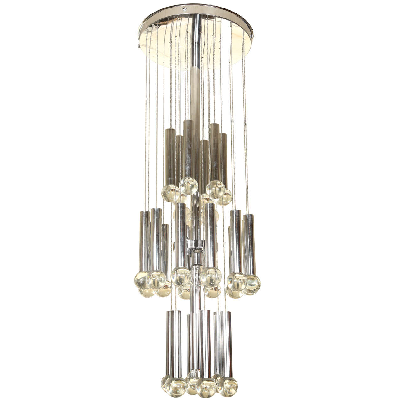 Italian Chrome And Glass Chandelier At 1stdibs