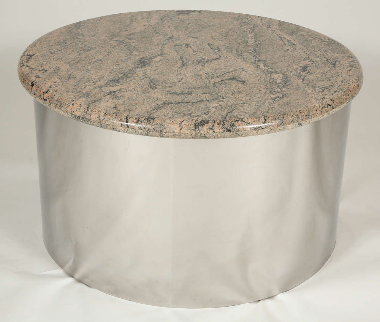 Chrome Drum Coffee Table: Chrome And Marble Drum Tables By Steve Chase At 1stdibs