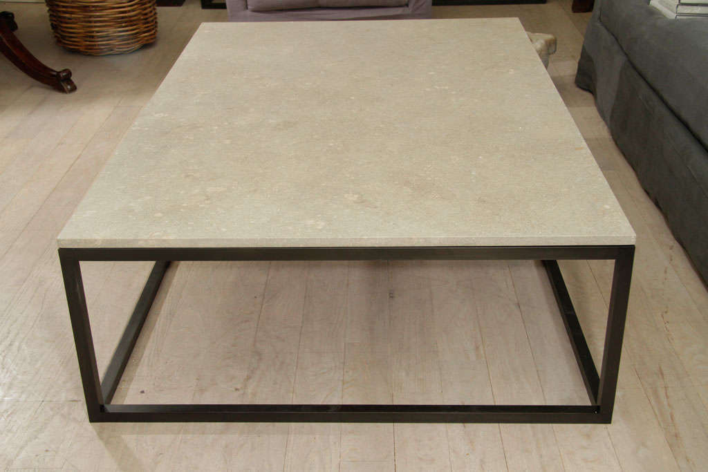 Seagrass Stone Top Coffee Table on Blackened Metal Base For Sale at