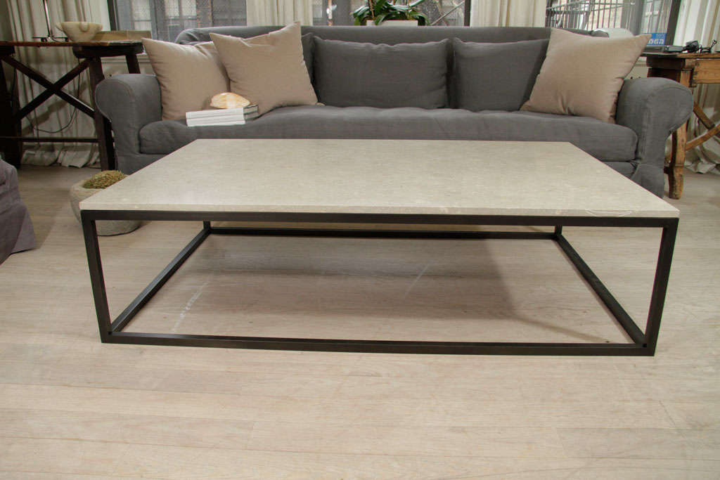 Attractive Seagrass Stone Top Coffee Table On Blackened Metal Base 2