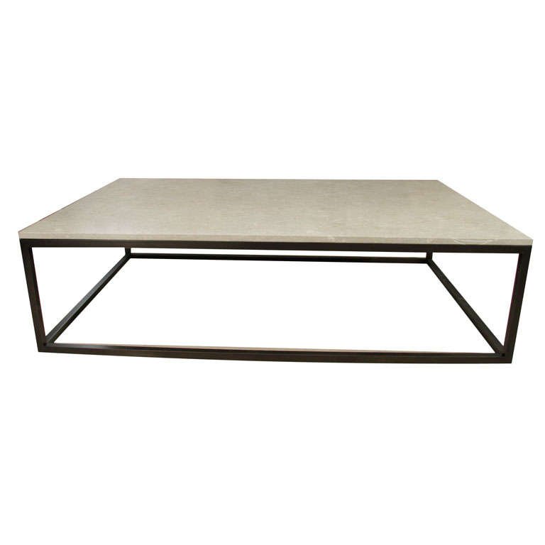 Seagrass stone top coffee table on blackened metal base for Seagrass coffee table