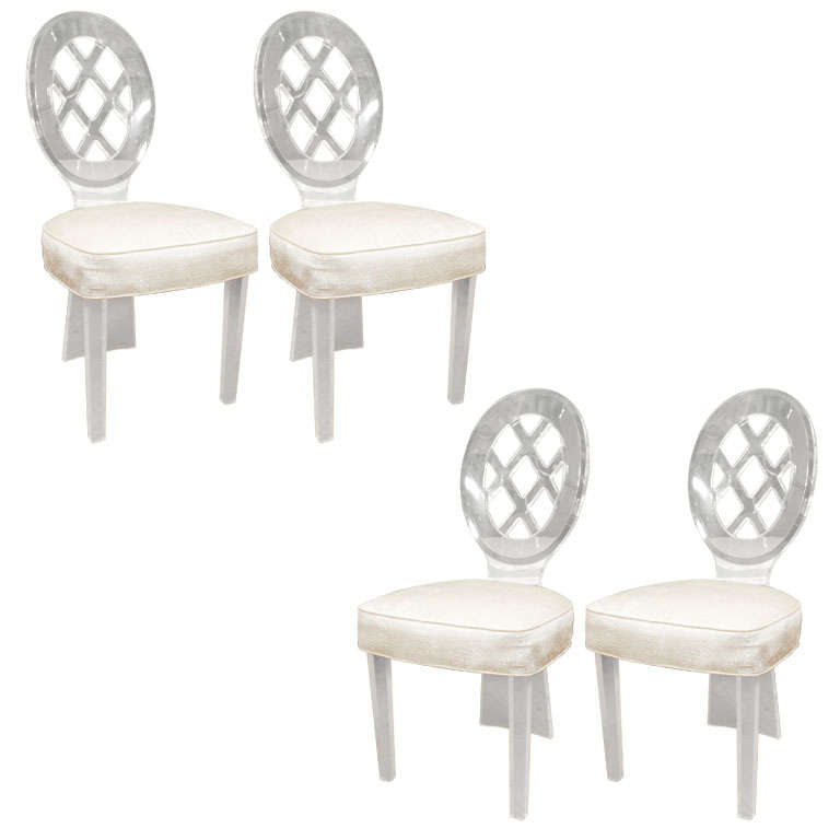 Lattice Back Lucite Dining Chair By Charles Hollis Jones