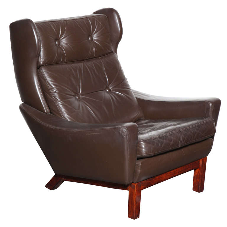 Danish Modern Brown Leather Wingback Chair By Kayser 1