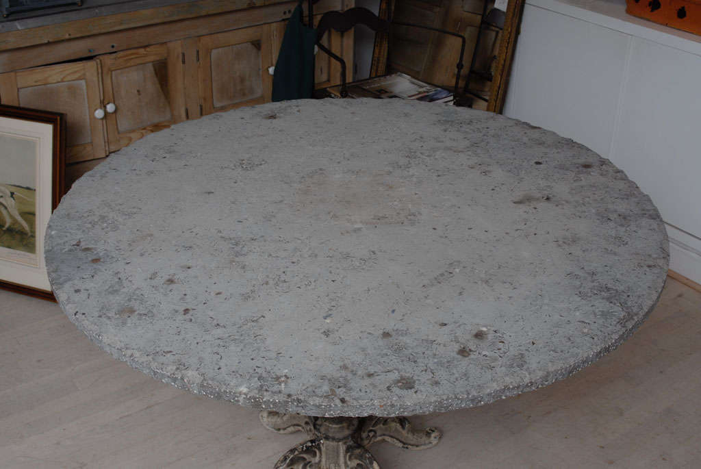 Cast Iron Base Gueridon Table With Blue Stone Top For Sale