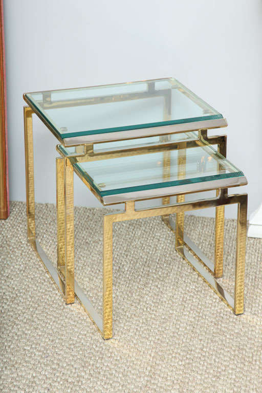 High Quality Brass And Glass Nesting Tables 2