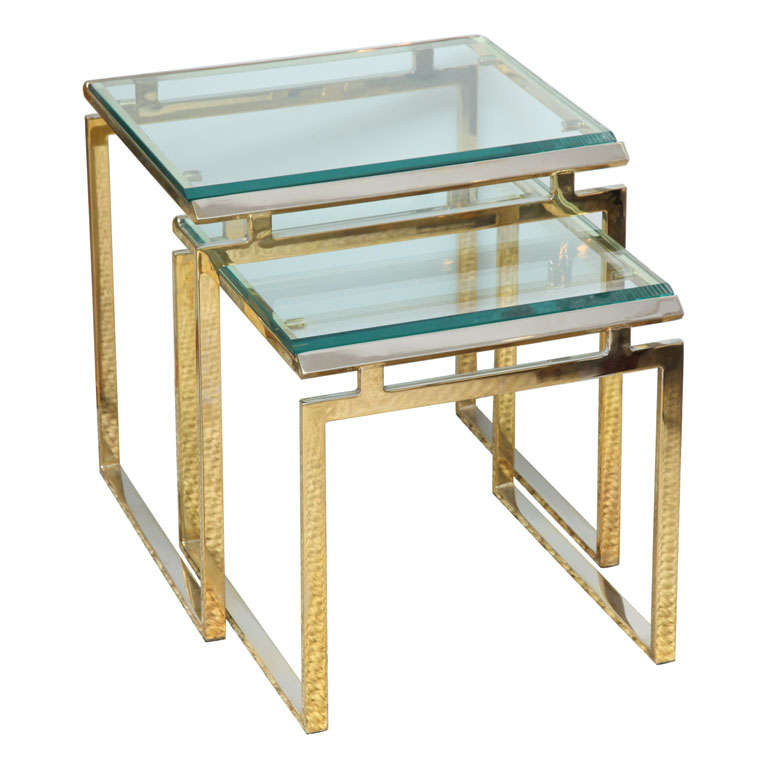 Brass and glass nesting tables at 1stdibs brass and glass nesting tables for sale watchthetrailerfo