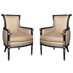 Pair Jansen Armchairs Directoire Style Ebony And Gilt Paint Decorated