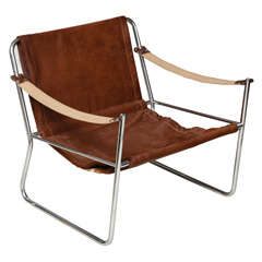 Mid-20th Century Deerskin and Chrome Chair