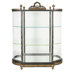 Antique Glass, Bronze and Steel Jewelry Showcase or Vitrine