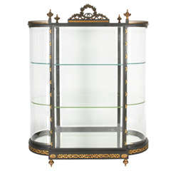Antique Glass, Bronze and Steel Jewelry Showcase or Vitrine