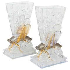 Rare Pair of Baccarat Crystal Grasshopper Vases